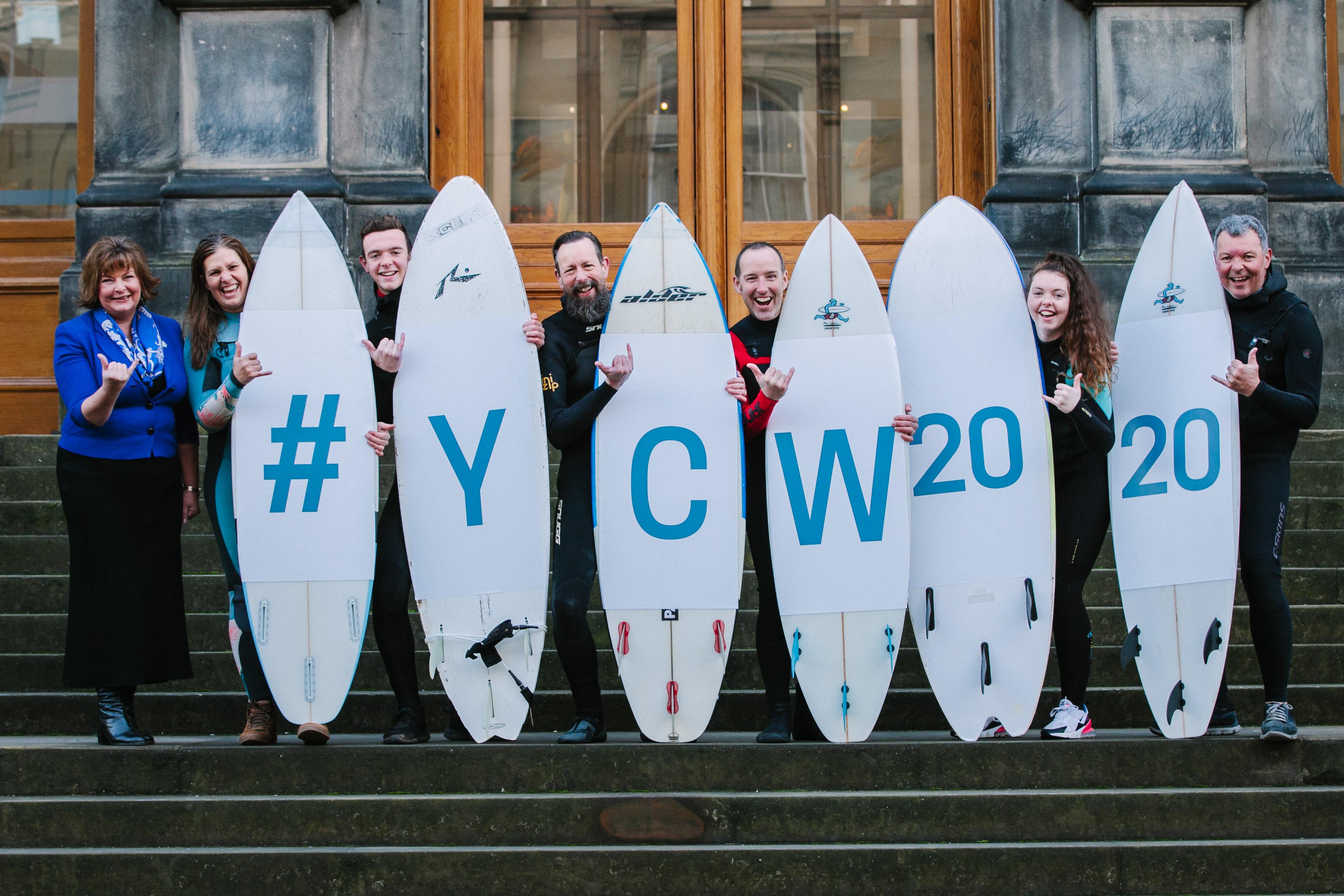 Cabinet Secretary, Fiona Hyslop and surfers Sally Harris, Owen McQueenie, Brian Allen, Sam Christopherson, Tamzin McQueenie and Martin McQueenie