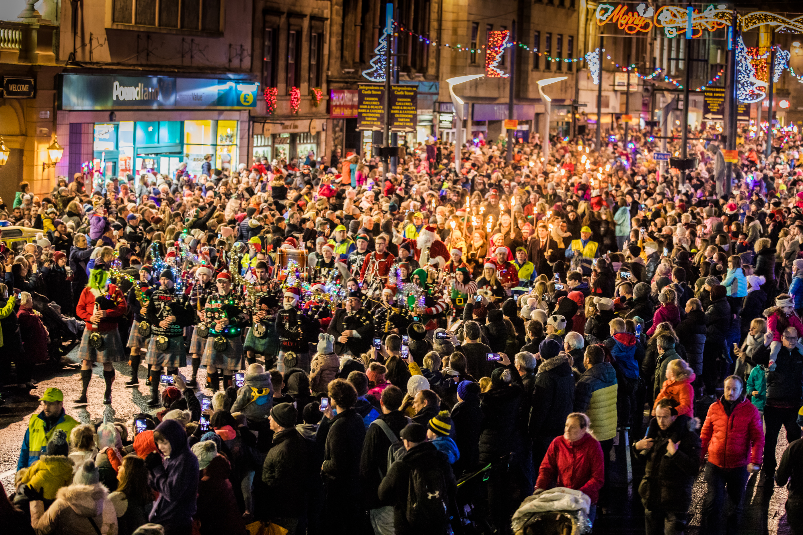 A large crowd gathered to see the Christmas lights being switched on in Inverness.