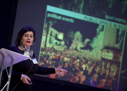Giulia Vallone spoke at Scotland's Towns Conference, Aberdeen Music Hall.