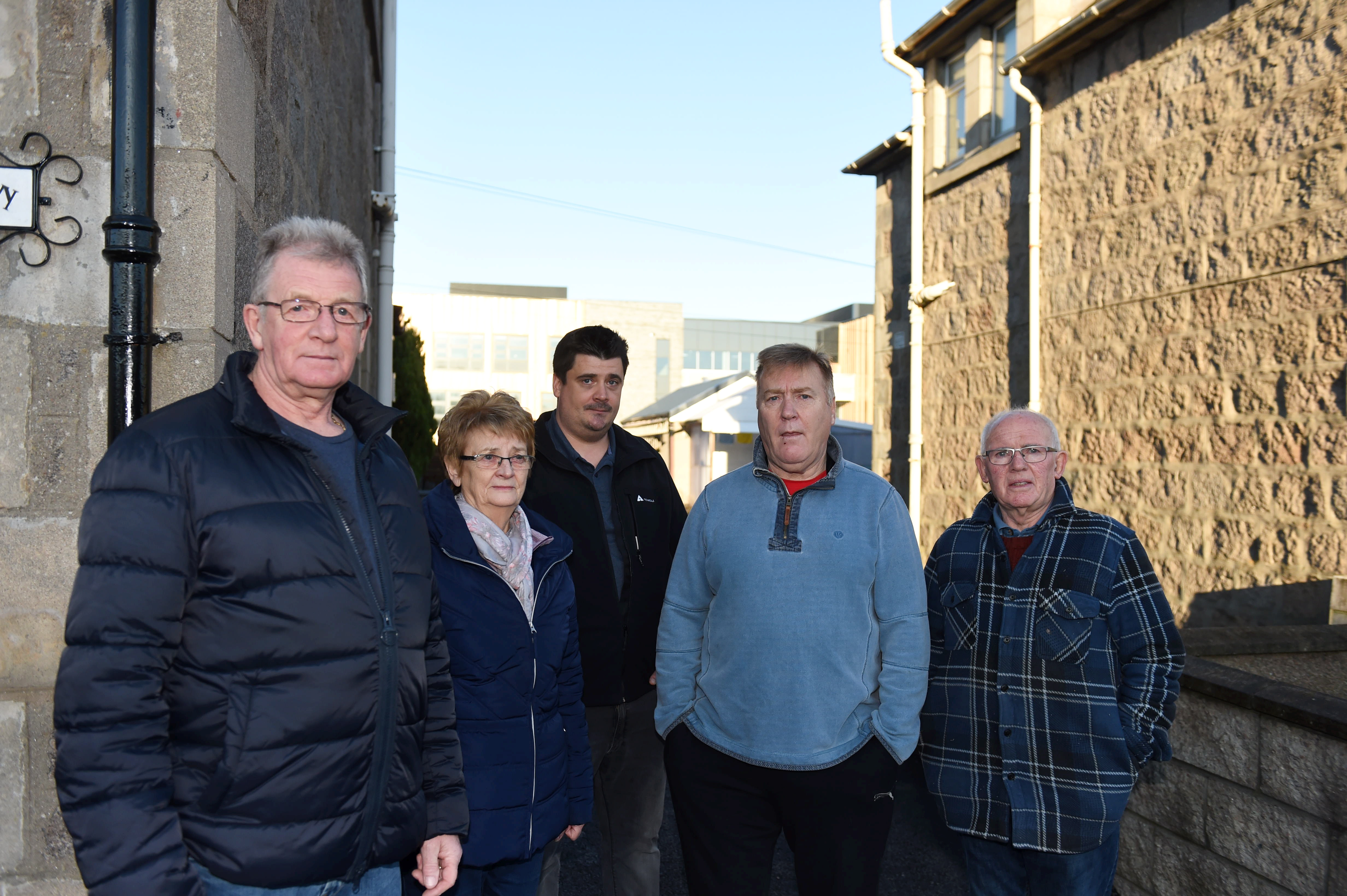 Pictured from left are George Square residents: Coliin Strachen, Edna Ross, Rob Griffith, Dave Cormie and George Ross.  Picture by Paul Glendell