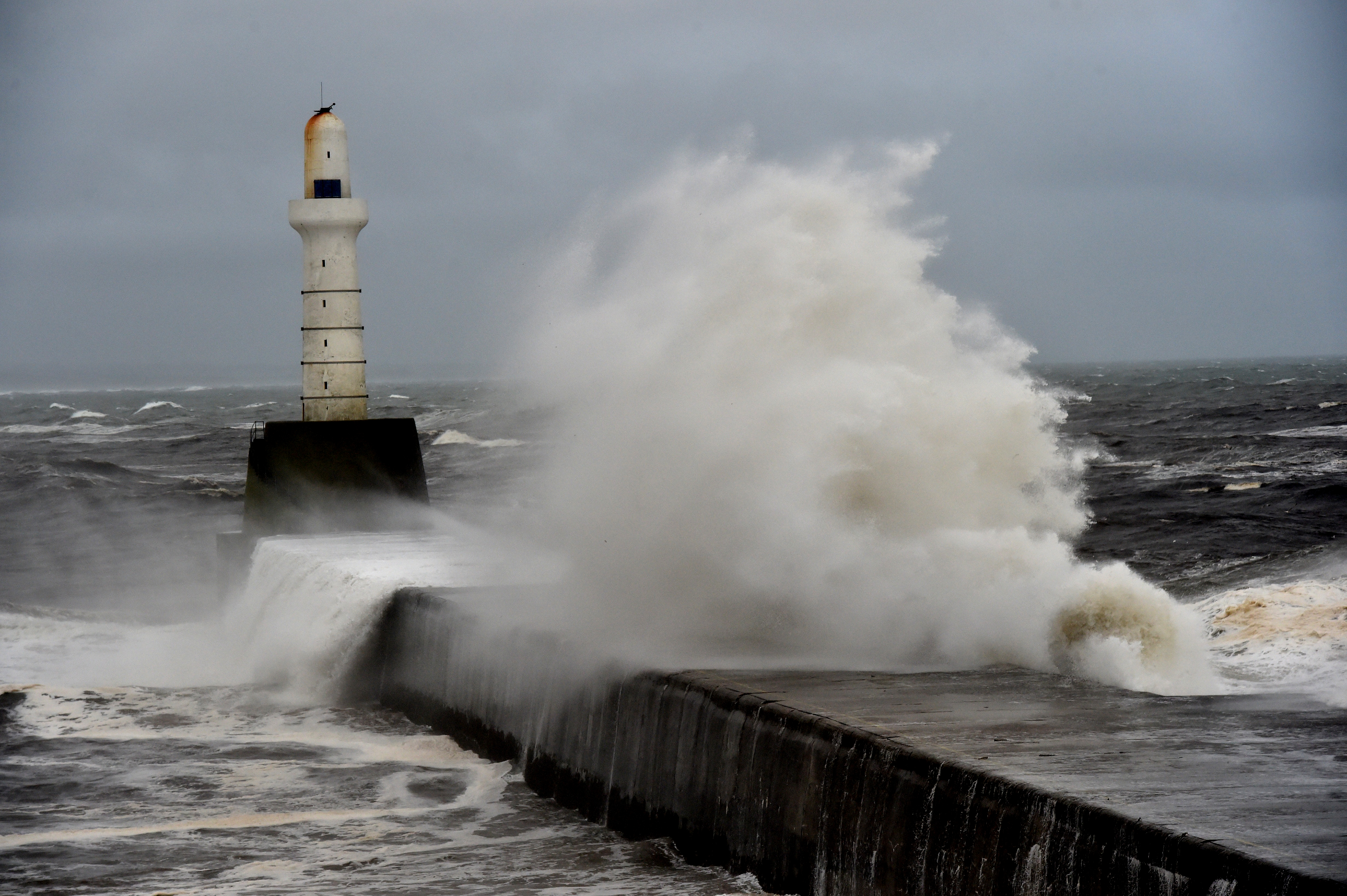 The entrance to Aberdeen Harbour gets pounded with heavy swell and waves.