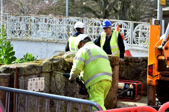 Stonehaven Flood Prevention work earlier this year. Picture by Colin Rennie.
