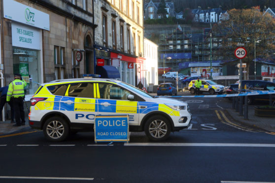 Police closed off Stevenson Street in oban. Picture by Kevin McGlynn