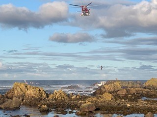 The passengers of the boat were rescued by the RNLI and coastguard teams after the boat ran aground. Photo by Bill Bain