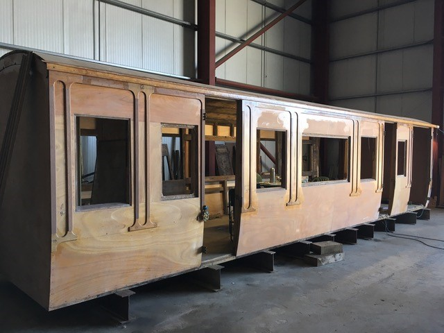 """The 1894 former London and North Western Railway """"Picking Saloon"""" gets a new roof"""