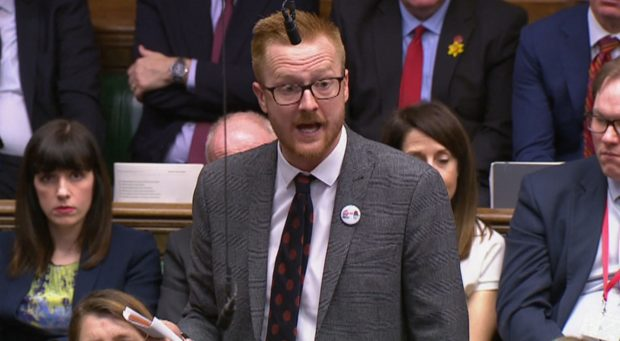 "Labour MP Lloyd Russell-Moyle asks the prime minister to condemn comments made this morning by Commons leader Andrea Leadsom on the teaching of LGBT relationships. Speaking on LBC radio, Ms Leadsom said, with regards to LGBT relationships, that parents should get to decide when their children ""become exposed to that information"". Mr Russell-Moyle says these views are ""dog-whistle politics"", and calls on the PM to condemn ""bigots that do not want LGBT people to be heard in schools"". Theresa May says she'll write to him about the official guidance Ofsted provides for teaching about LGBT relationships. Picture: HOC/Universal News And Sport (Europe) 20/03/2019"