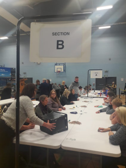 Votes are counted at Lochgilphead Joint Campus. Picture by Rita Campbell