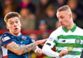 Celtic's Leigh Griffiths and Joshua Mullin in action during the Ladbrokes Premiership match between Ross County and Celtic