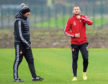Niall McGinn and Tony Docherty during Aberdeen training at Cormack Park.