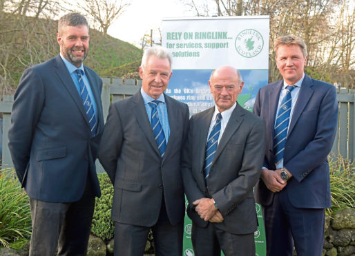 From left are new vice-chairman Peter Chapman, outgoing chairman Andrew Moir, managing director Graham Bruce, and new chairman James Porter.