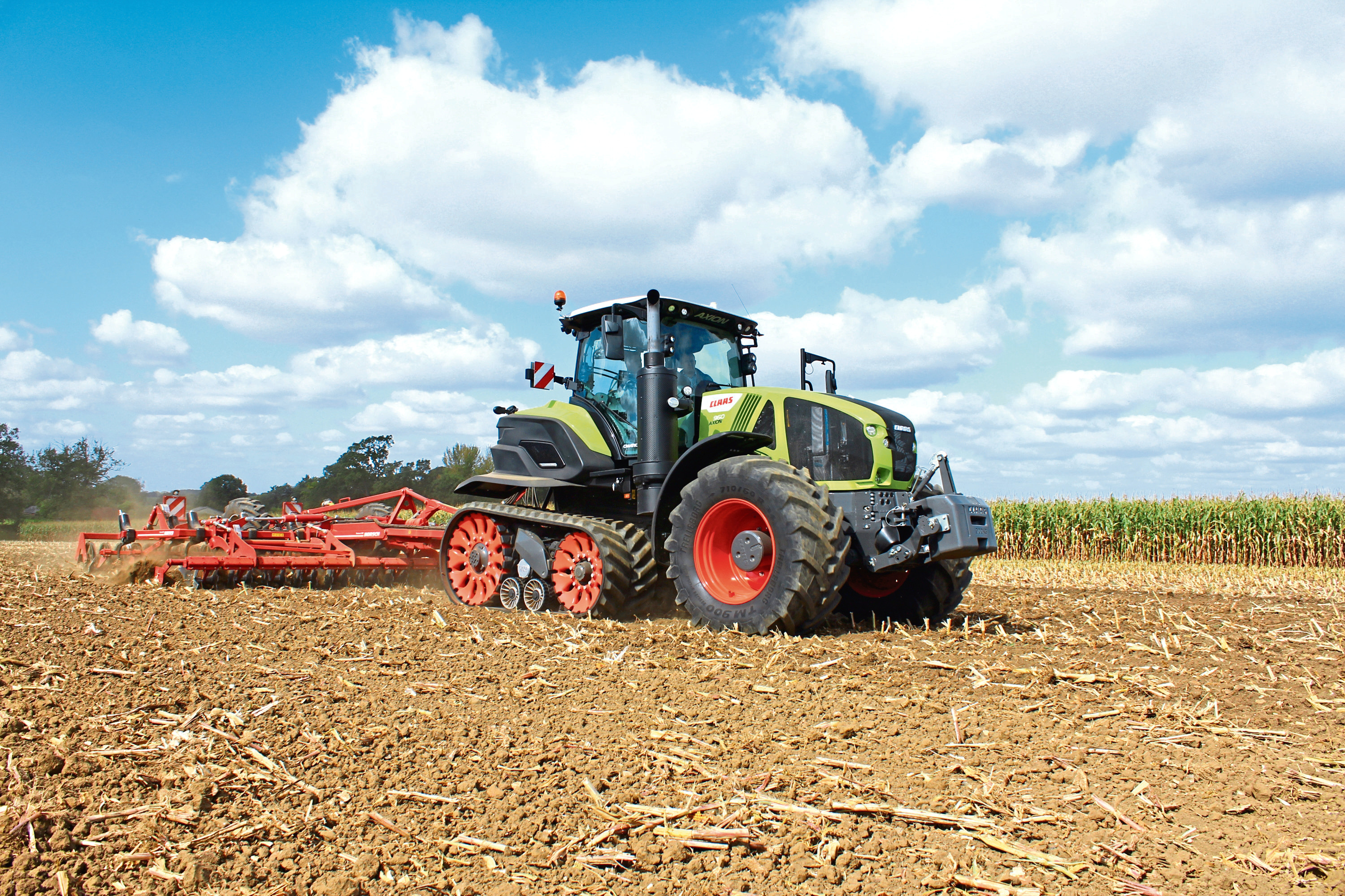 Terra Trac assemblies on the Claas Axion 900 have a larger diameter drive wheel, full suspension and can pivot individually over an undulating surface.