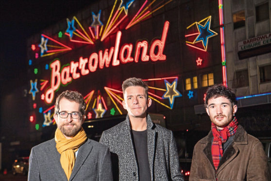 Matt Brennan, a Reader in Popular Music at the University of Glasgow; Glasgow PhD student Robert Allan, also a founding and current member of the band Glasvegas and Robert Kilpatrick, General Manager of the Scottish Music Industry Association (SMIA) in front of the iconic Glasgow Barrowland Ballroom.