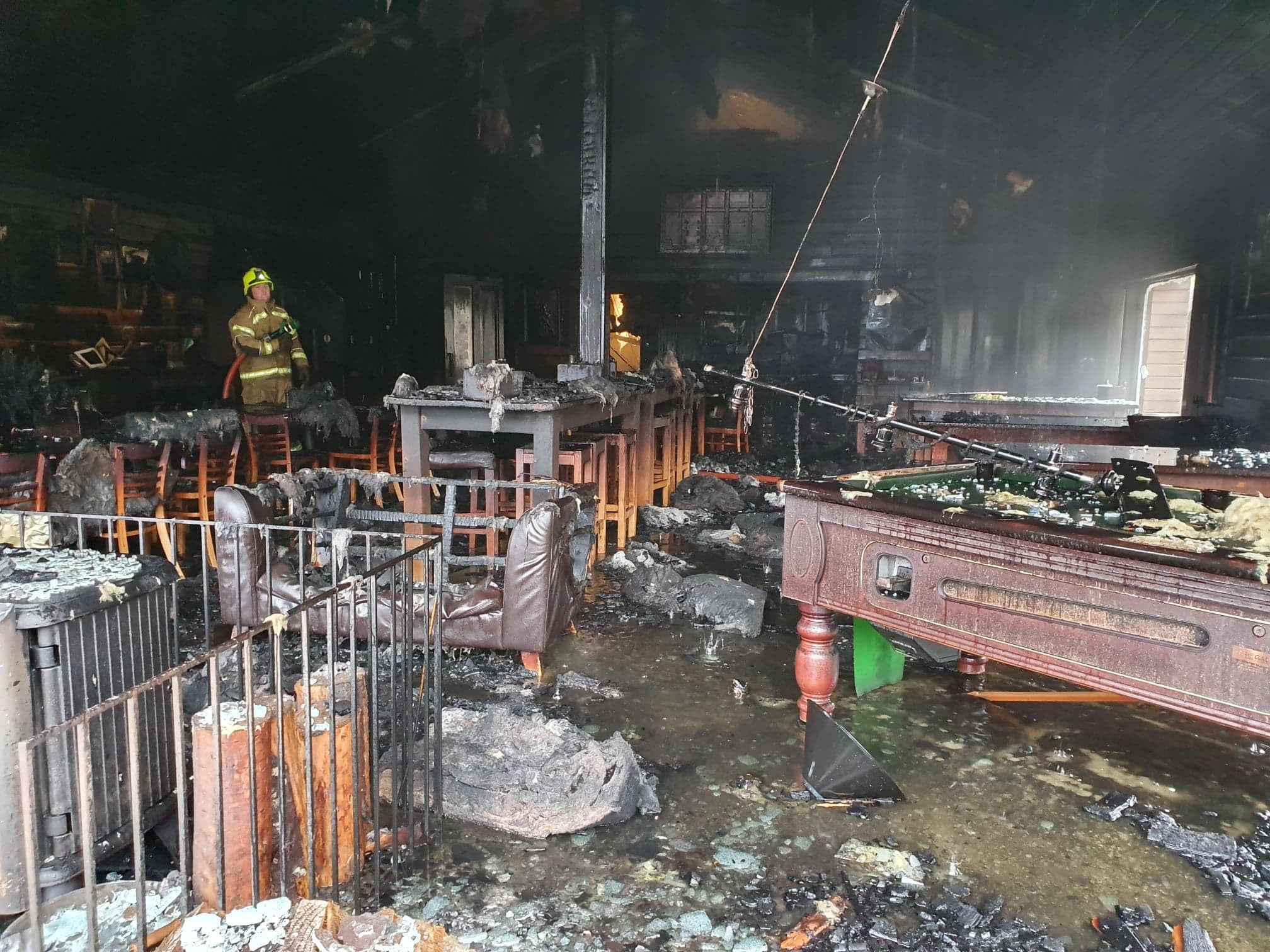 The fire torn building at the ski resort. Picture credit: Glencoe Mountain Resort