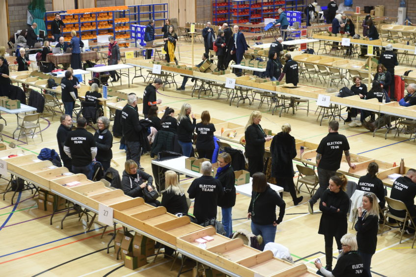 The election count under way in Inverness.
