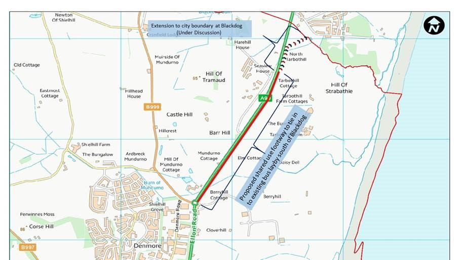 A92 Murcar roundabout to Blackdog new path map