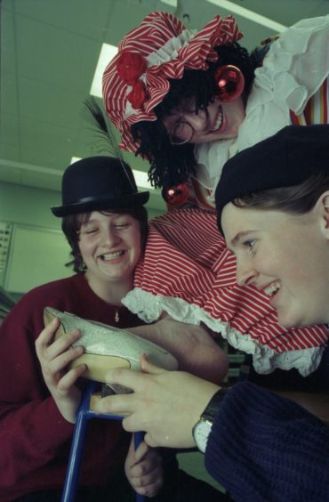Neil Campbell, Elizabeth Rennie and Amanda Reid in Buckie High School Christmas pantomime 'Mother Goose' in 1995.