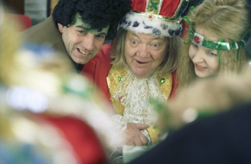 Colin Smith, Ian McConachie and Fiona Constantinon in Elgin Amateur Dramatic Society pantomime 'Sleeping Beauty' in 1996