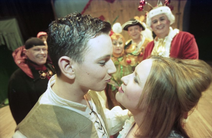 Sean Morton and Colleen Kennie in Elgin Amateur Dramatic Society pantomime 'Jack and the Beanstalk in 2000.