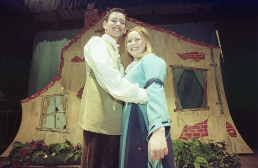 Sean Morton and Colleen Kennie in Elgin Amateur Dramatic Society pantomime 'Jack and the Beanstalk' in 2000.