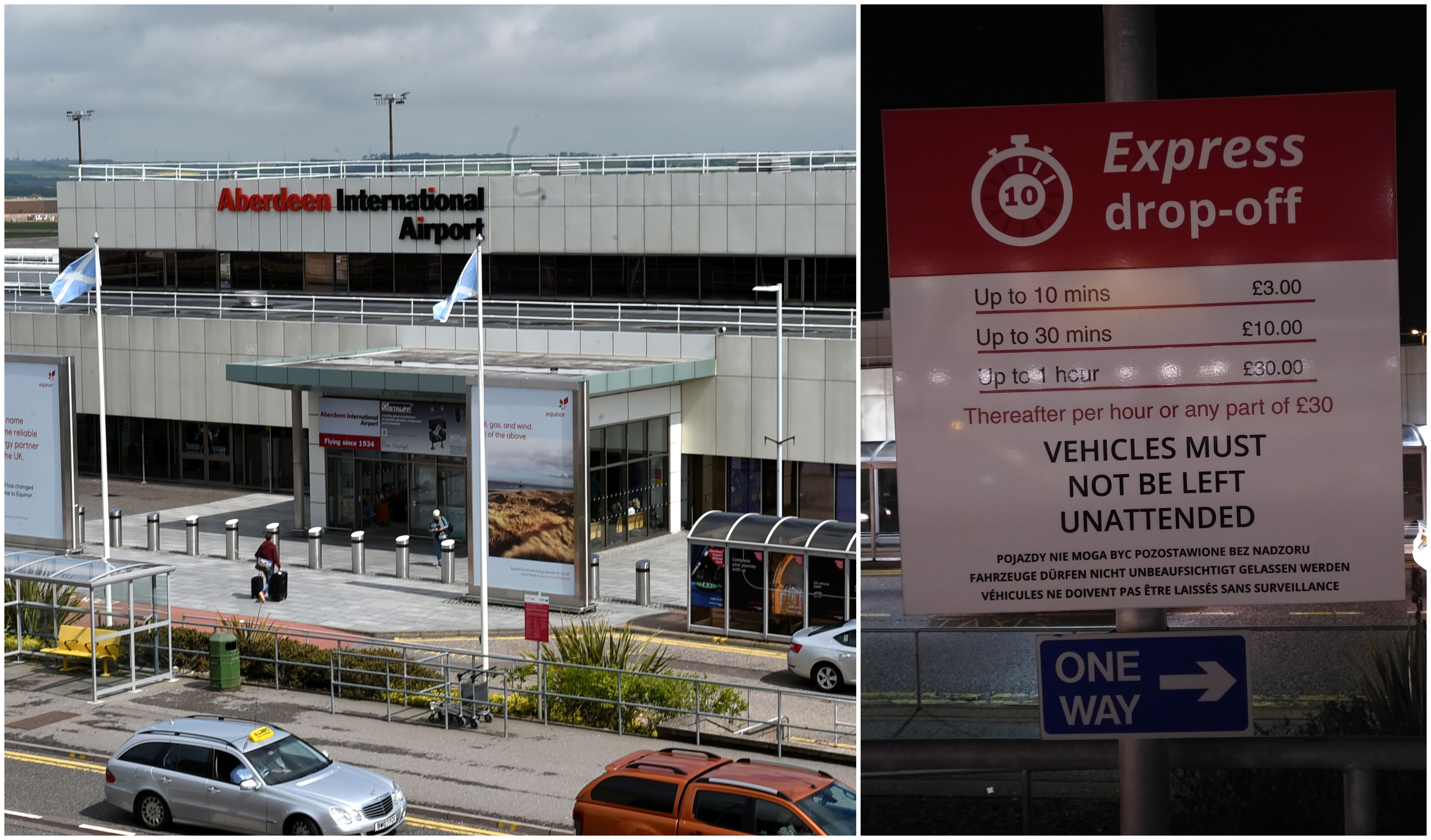 The express drop-off charge at Aberdeen Airport has increased from £2 to £3.