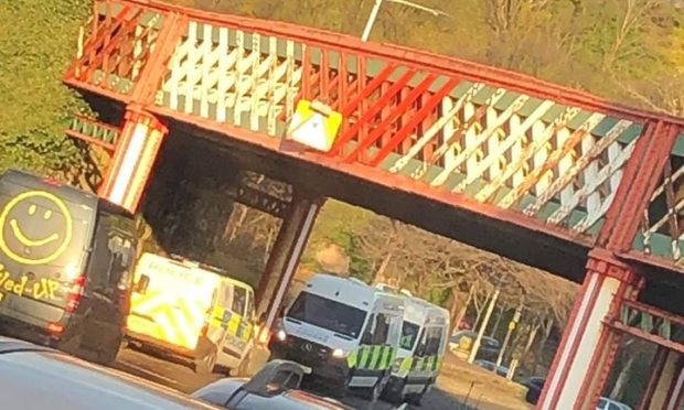 Emergency services at Harbour Place in Burntisland.