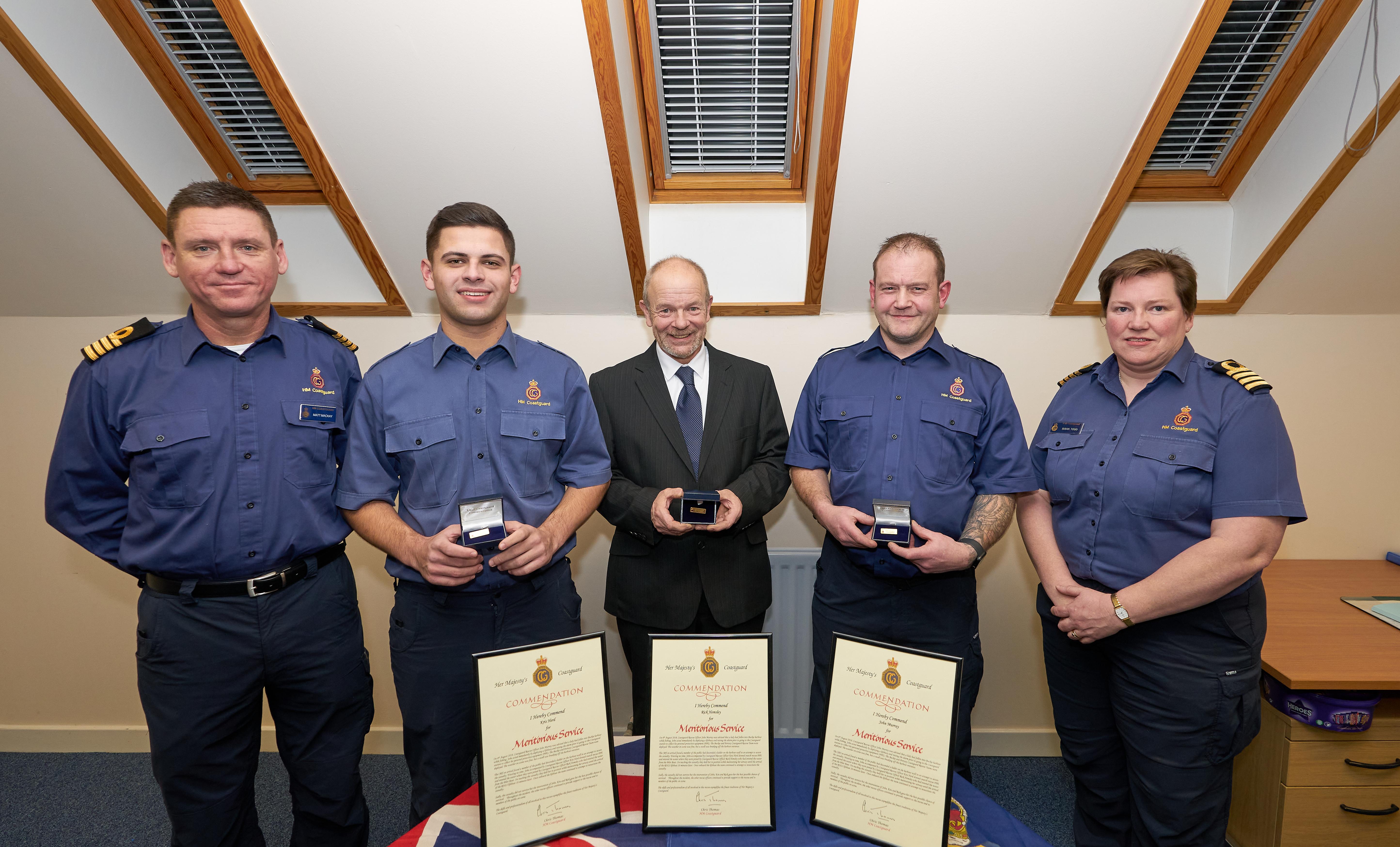 L-R - Matt Mackay, Divisional Commander, Kris Herd, Rick Hemsley, John Murray and Sue Todd, Divisional Commander.
