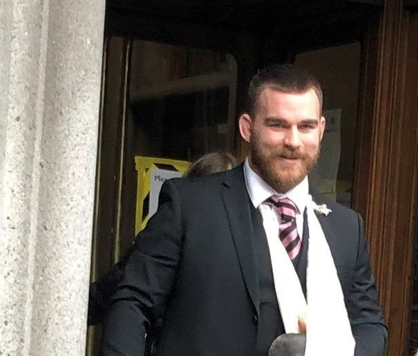 D'Arcy Rae leaving Aberdeen Sheriff Court