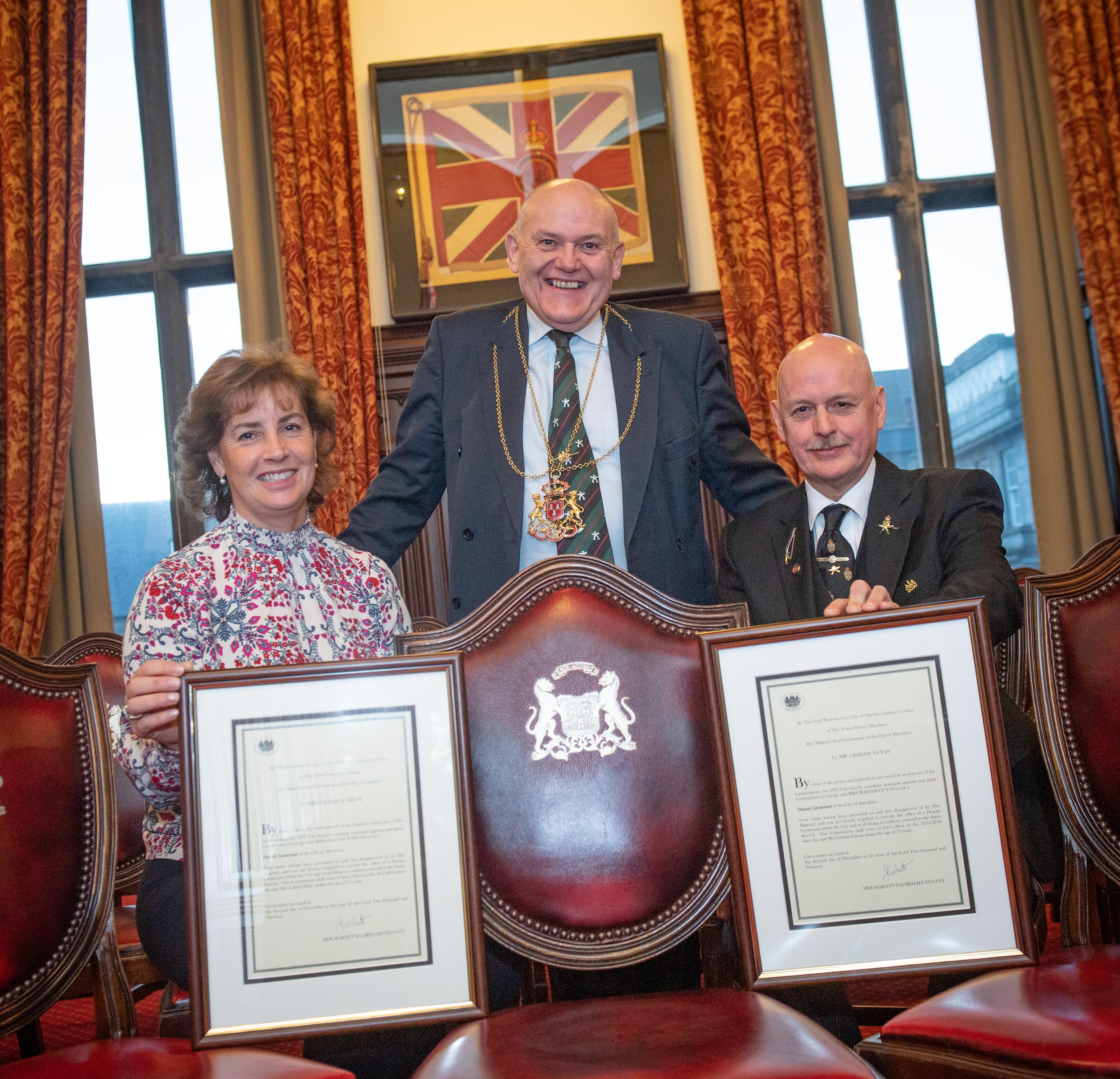 Aberdeen , Scotland, Monday, 16 December  2019   Civic Reception at Aberdeen Town Hall celebrating the Commissioning of two new Deputy Lieutenants Gillian Milne and Graham Guyan   Picture by Abermedia / Michal Wachucik