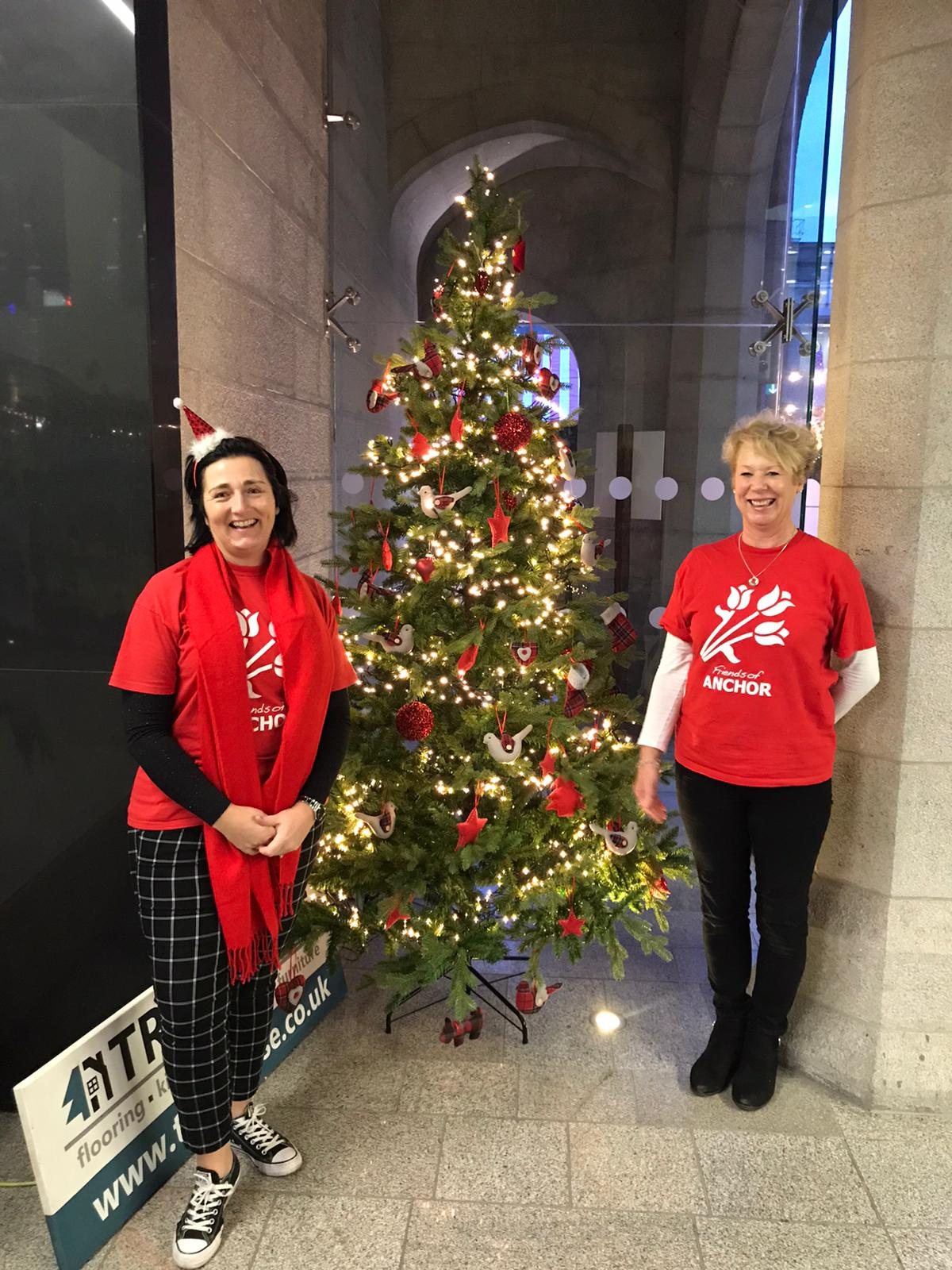Friends of ANCHOR volunteers Donna Miller (left) and Lesley Stewart with the Tribute Tree