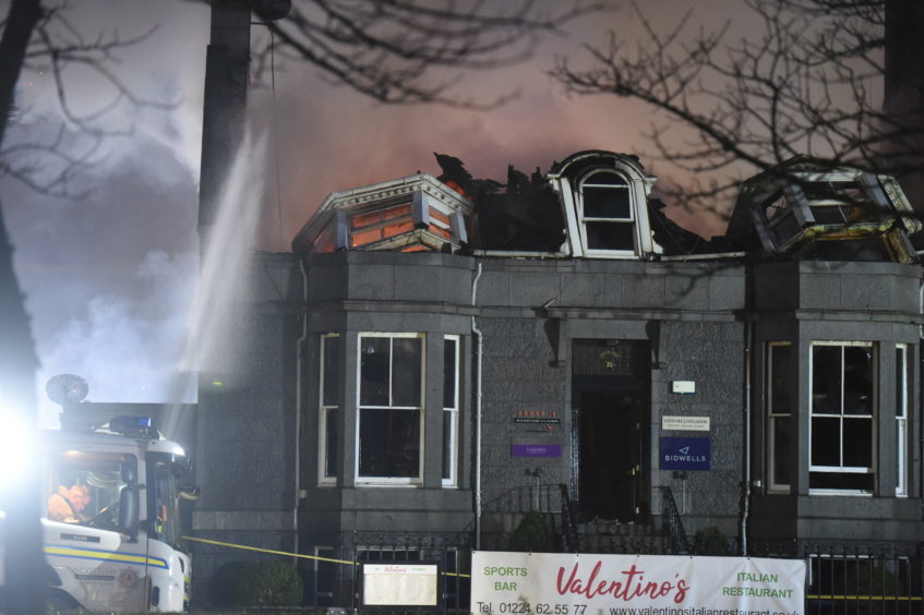 The destruction at Valentinos Italian Restaurant due to a fire.