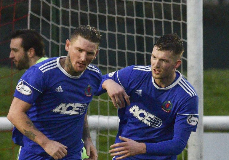 Martin Scott (Cove Rangers) celebrates with team mates after scoring during the Scottish League 2 match between Edinburgh City and Cove Rangers