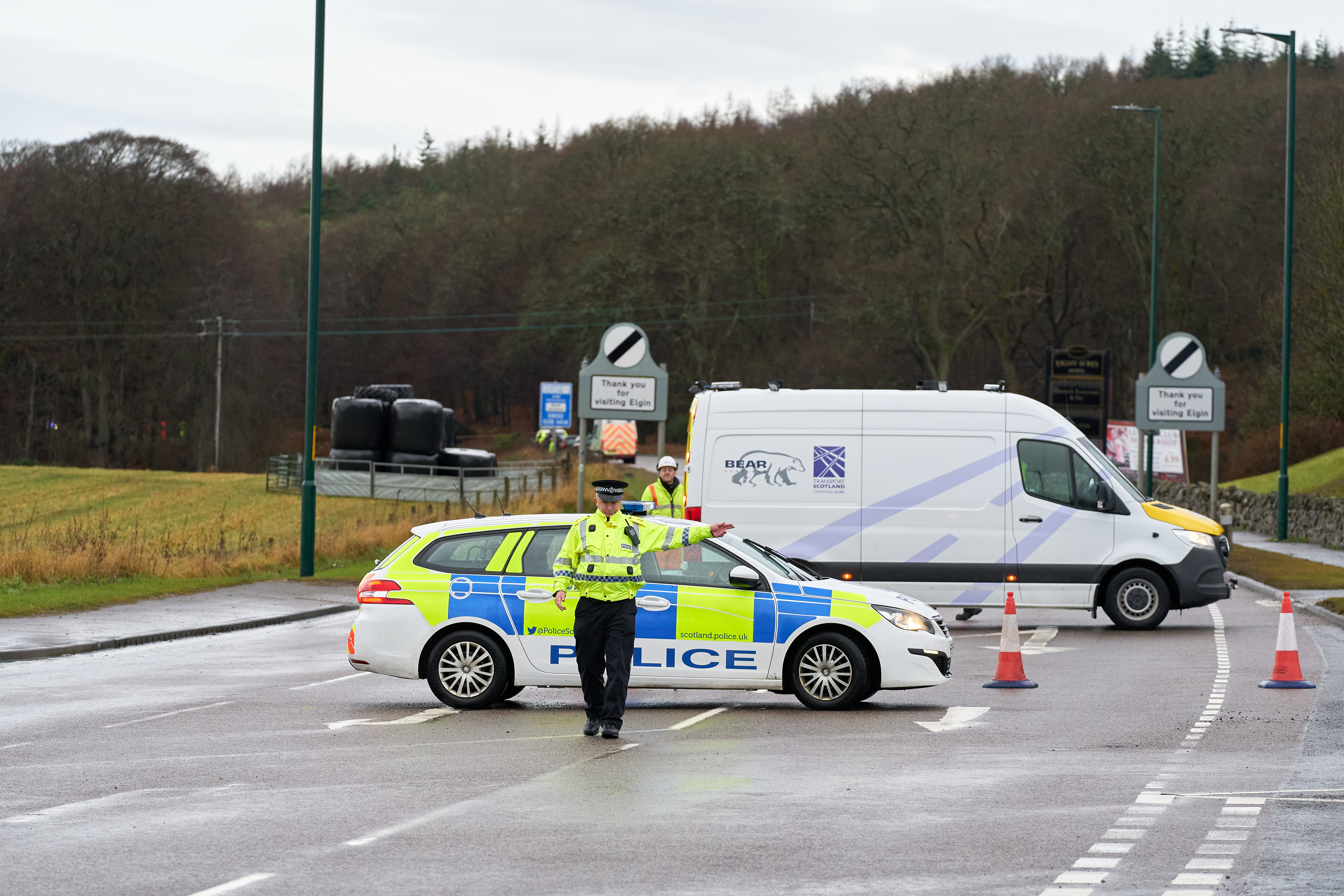 Police at the scene of the crash.