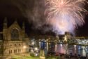 Fireworks over the River Ness and Inverness Cathedral.