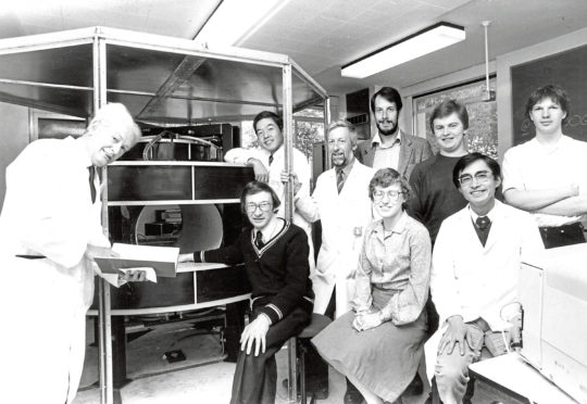 Leading the way for the revolutionary imager, Professor John Mallard (left) with his team from the Department of Medical Physics.