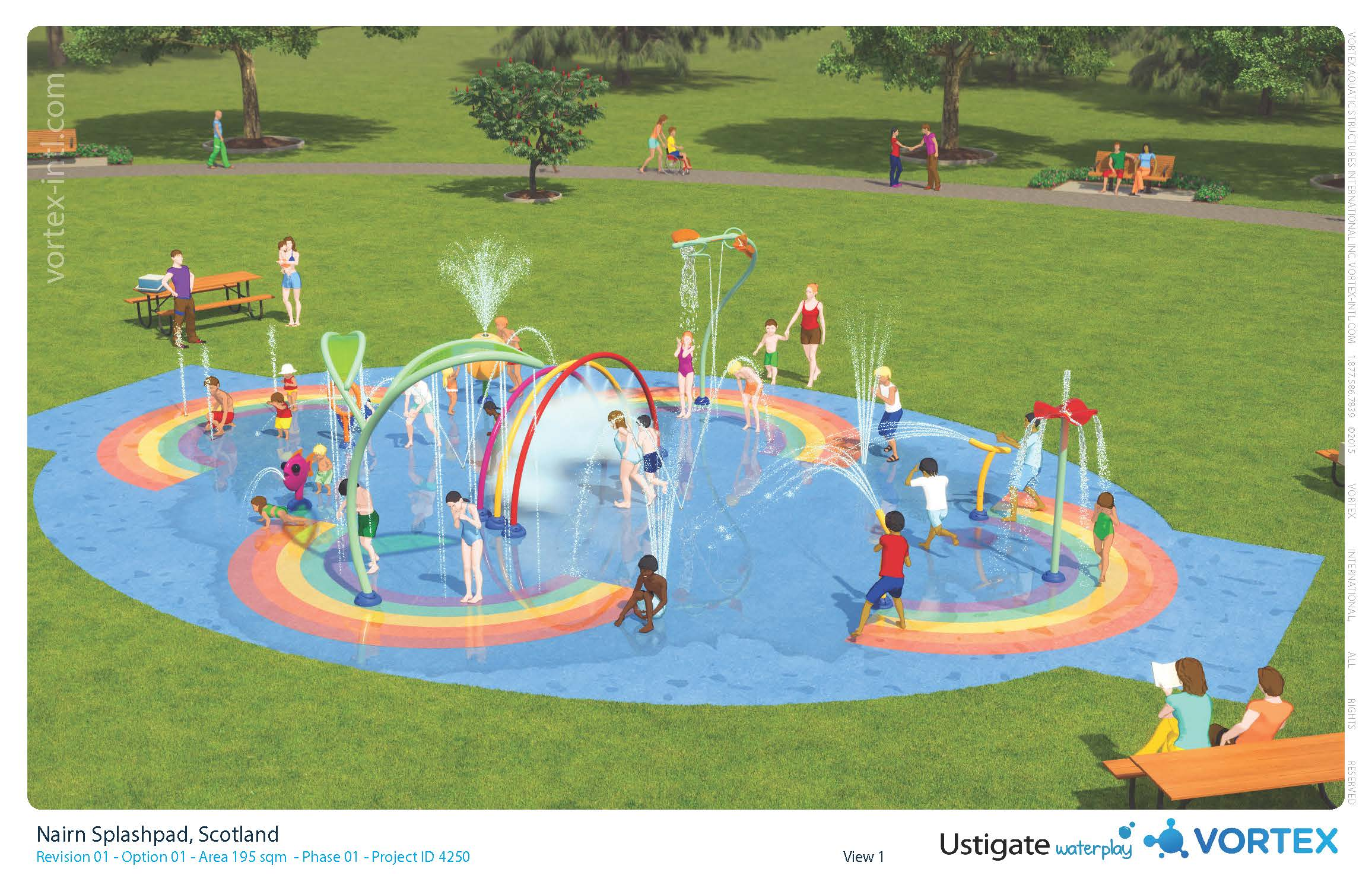 An artist's impression of Nairn's new splash pad in memory of Hamish Hey