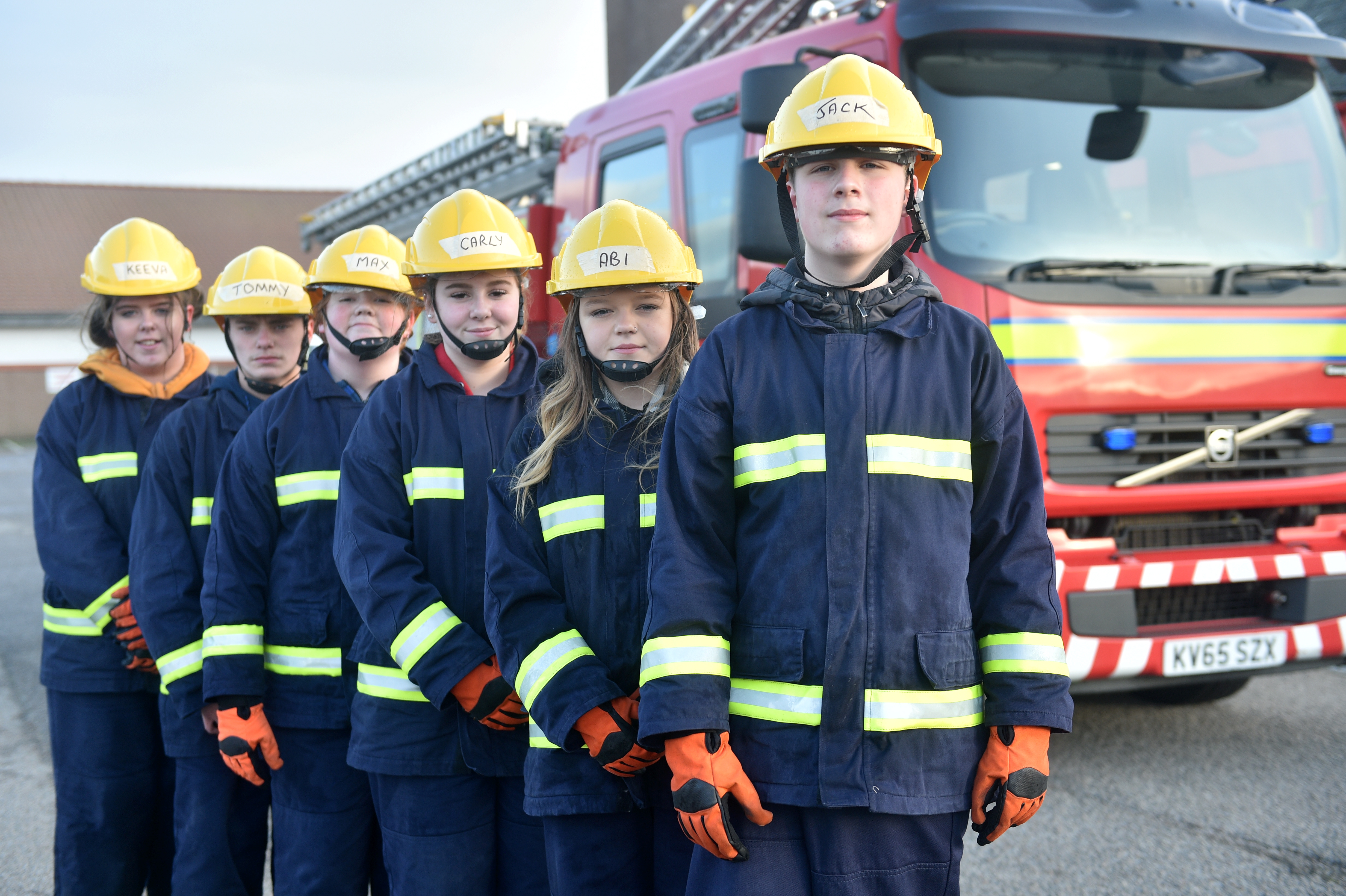 Pictured are from left, Keeva Mutch, 14, Tommy Lee Dimmick, 15, Max Walker, 14, Carly Slessor, 14, Abigail Duncan, 14 and Jack Mair, 14 at Peterhead Fire Station. The Fraser-deen group will be doing their passing out parade at Peterhead Fire Station having completed their skills course as part of the Fraserdeen project which aims to give participants more life skills than being kept in classrooms. Picture by DARRELL BENNS  Pictured on 12/12/2019