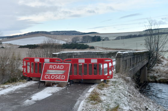 The bridge over the River Don near Milltown of Towie which is currently closed. Picture by Darrell Benns