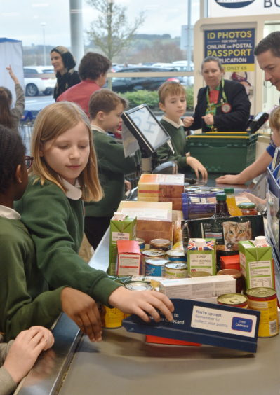 Pictured are from left, Alice Connell, 9, Abby Clark, 9, Zayyan Baig, 9 and Emma Arteaga, 9. Pupils at the supermarket sweep