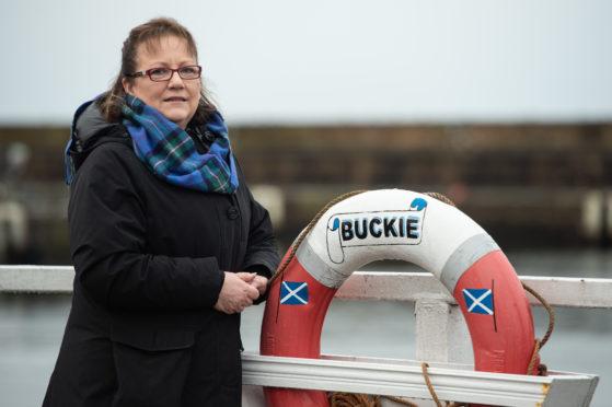 Councillor Sonya Warren at Buckie Harbour.