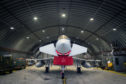 RAF Typhoon inside an armoured shelter at RAF Lossiemouth.
