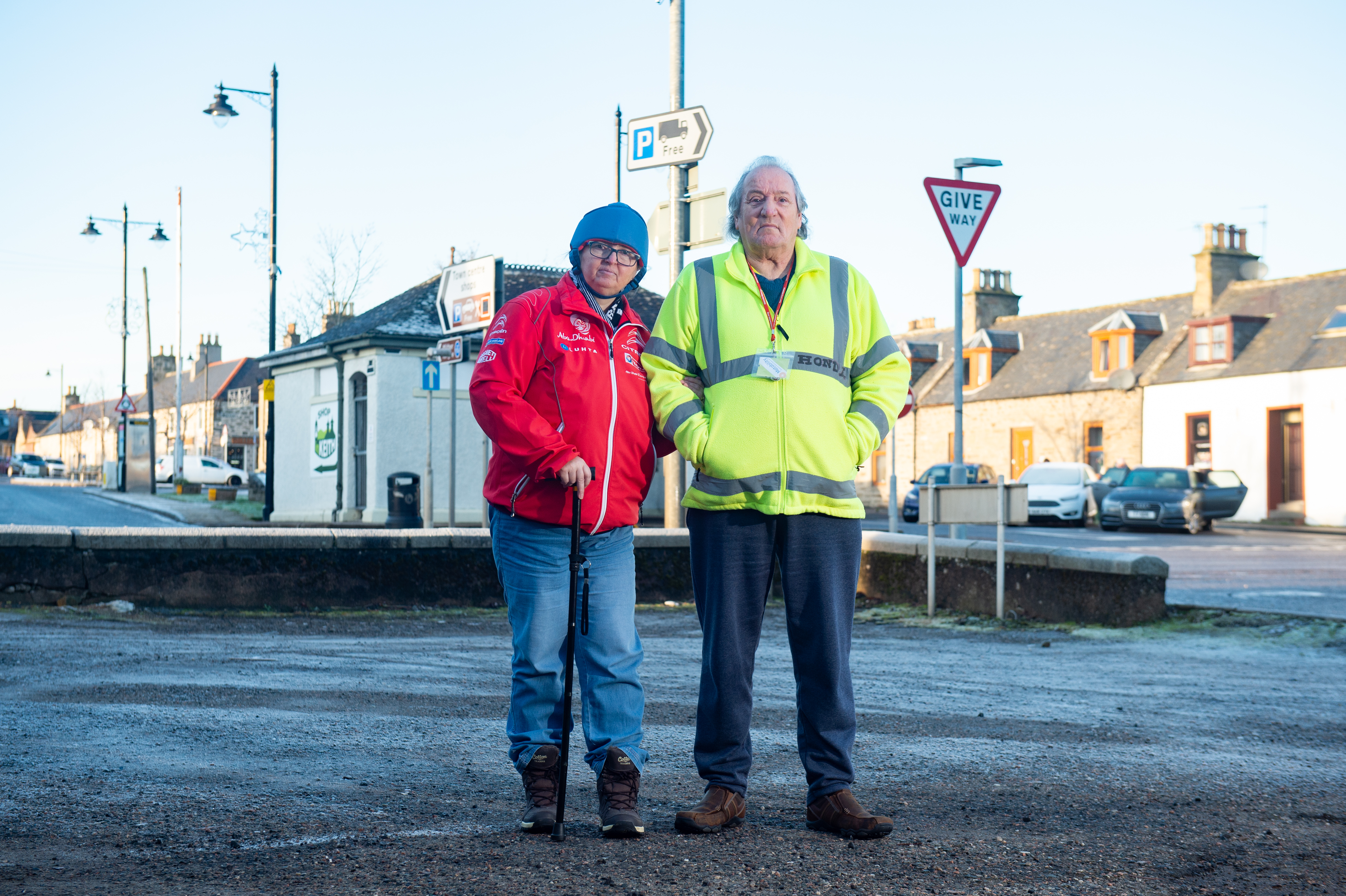 Keith residents Stuart and Shona Robertson are concerned the car park outside their house is being used as a rat run to get access to the A96. Picture by Jason Hedges.