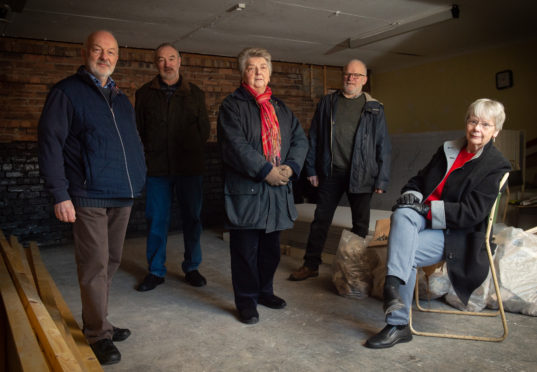 The Cullen, Deskford and Portknockie Heritage Group wants to open a permanent heritage centre in the former Cullen Town Hall. Pictured: Jim Mackay, Alan Maloney, Brenda Wood, Pete Mason, Pat Bardhill. Picture by Jason Hedges