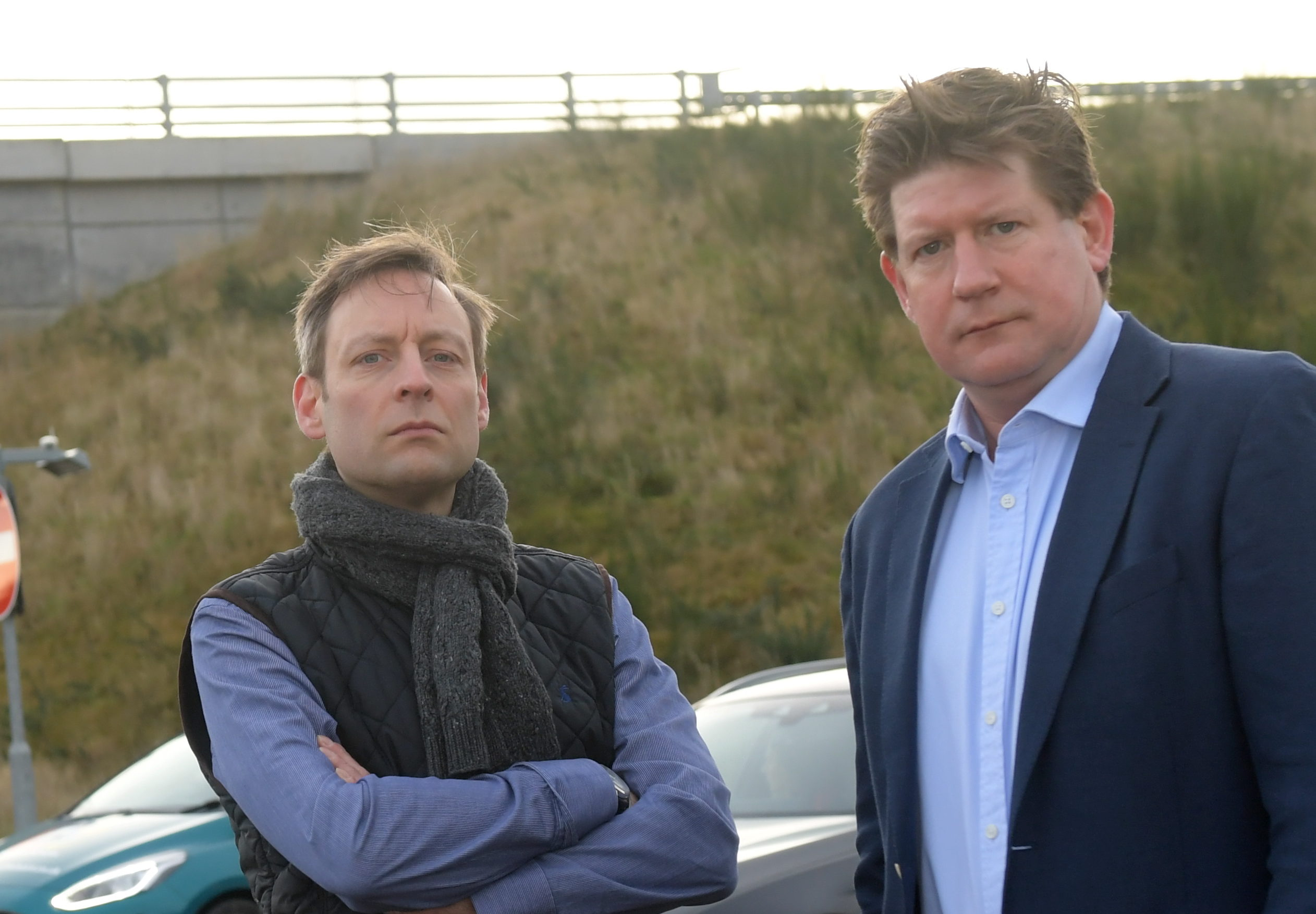 From left, Liam Kerr MSP and Alex Burnett MSP at the Kingswells South sliproad off the AWPR.  Picture by KATH FLANNERY