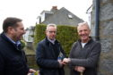 MIchael Gove  at centre door knocking in the Aberdeen South Constituency. with Candidate Douglas Lumsdon on his left and house occupier Richard Stephen  Picture by Paul Glendell