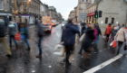 Shoppers a-plenty in Inverness City Centre as roads became backlogged on exit points out of the Highland capital. Picture by Sandy McCook
