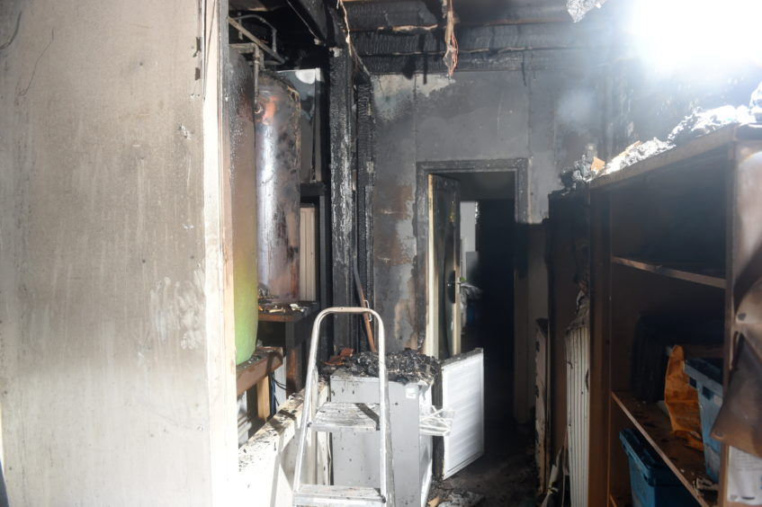 The badly damaged changing rooms and laundry room as a result of the Christmas Eve fire.