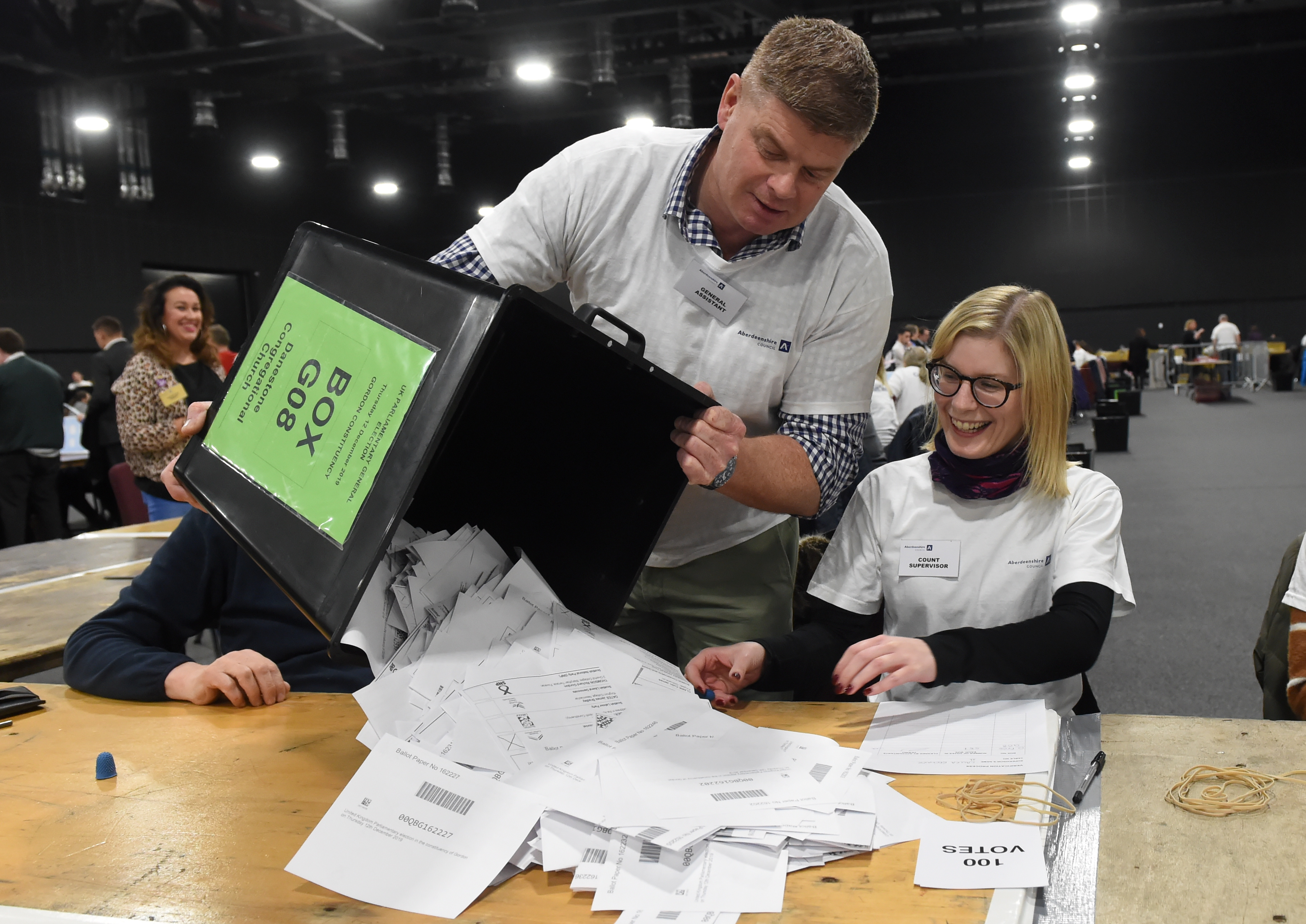 The General Election 2019 at P&J Live, for Aberdeen and Aberdeenshire. Picture of Ballot papers being counted.   Picture by KENNY ELRICK