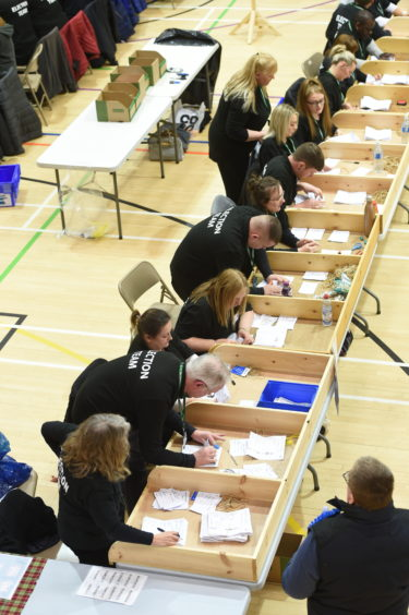 Counting underway at Inverness Sports Centre. Picture by Sandy McCook.