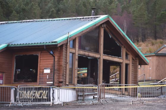 The damaged building after a fire at Glencoe Mountain Resort. Picture by Sandy McCook 25/12/2019