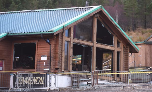 The damaged building after a fire at Glencoe Mountain Resort. Picture by Sandy McCook